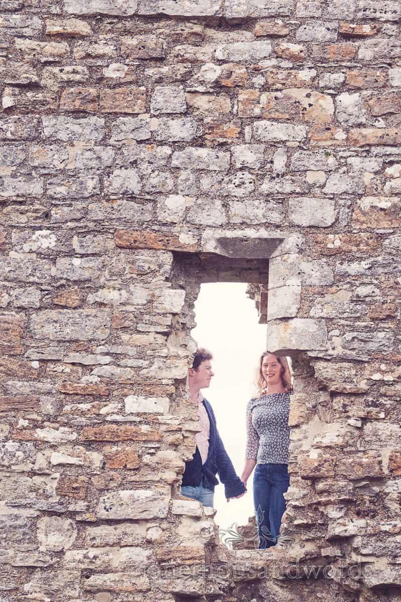 engagement photographs at Corfe Castle, Dorset