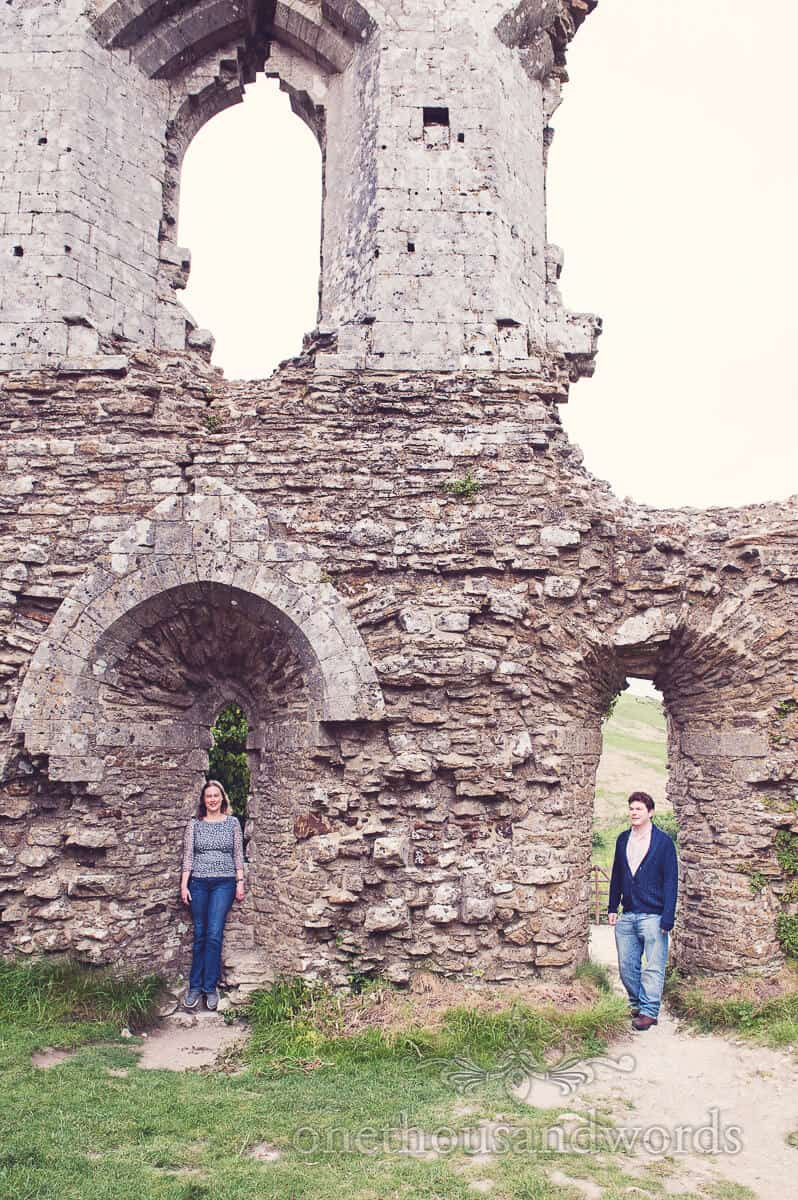 engagment couple at Corfe castle, Dorset