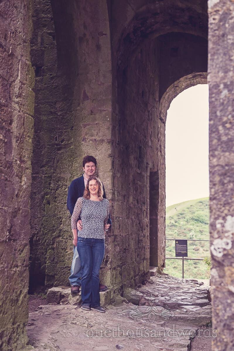 Engagment couple photograph in Corfe Castle, Dorset