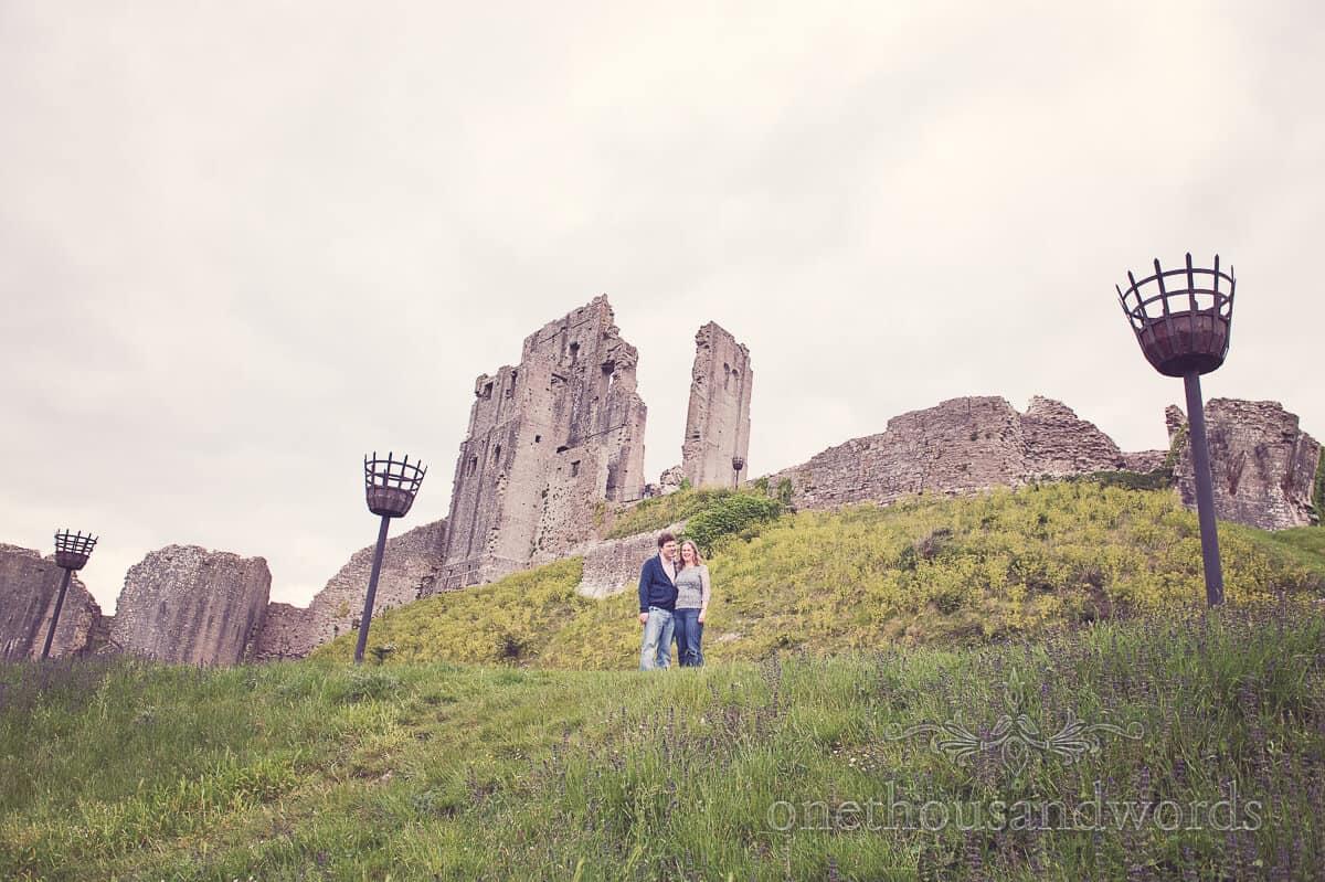 Corfe Castle ruins engagment photographs venue
