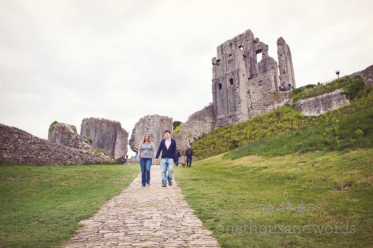 Corfe Castle photographs of engaged couple