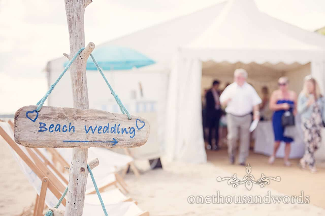 Beach wedding Bournemouth driftwood sign