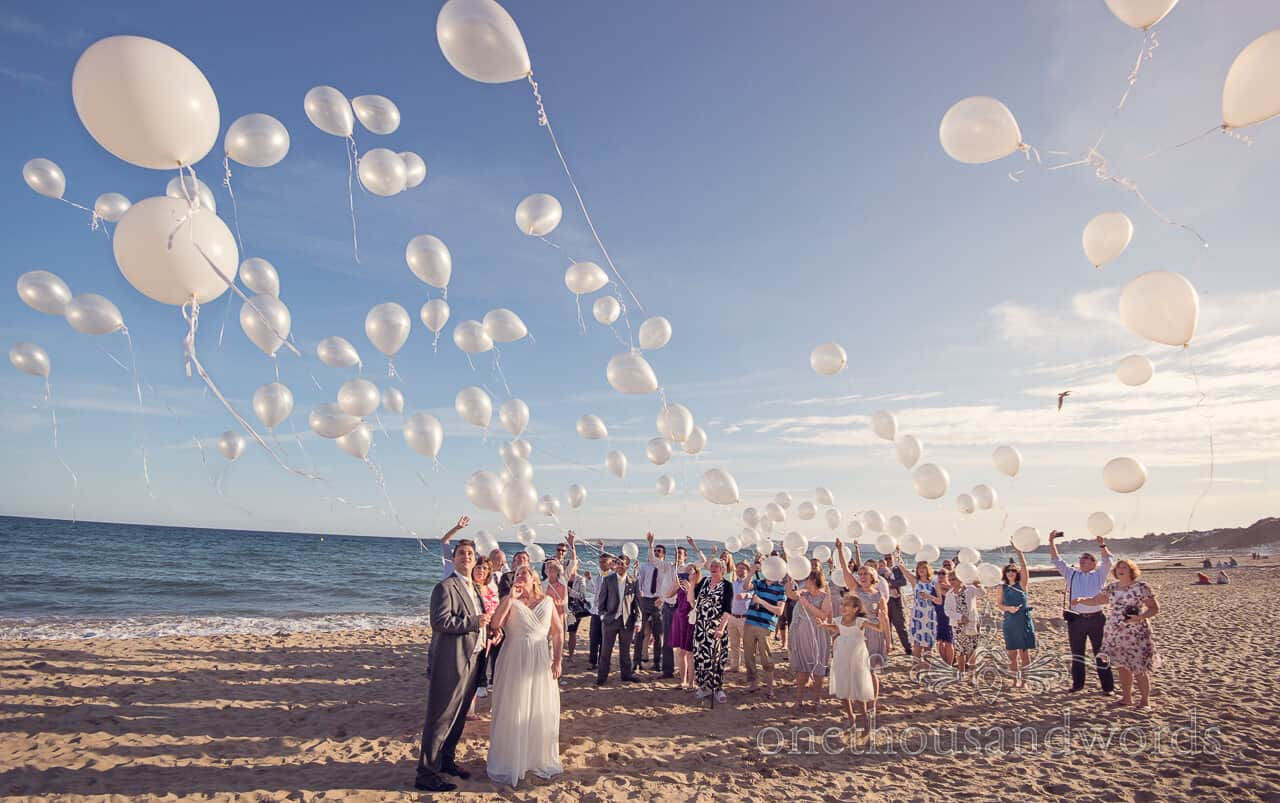 Bournemouth Beach wedding balloon release