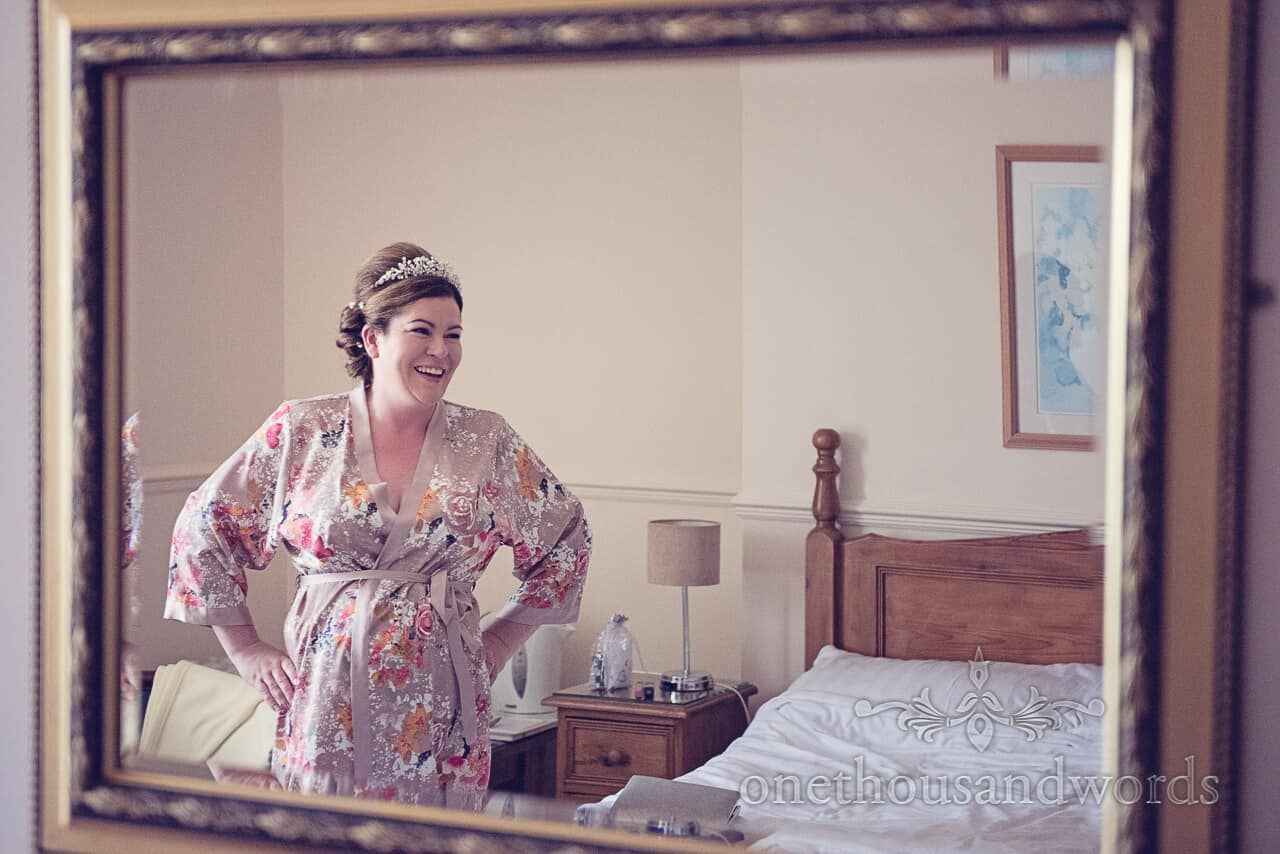 Bride in gown on The Grand Hotel Swanage wedding morning