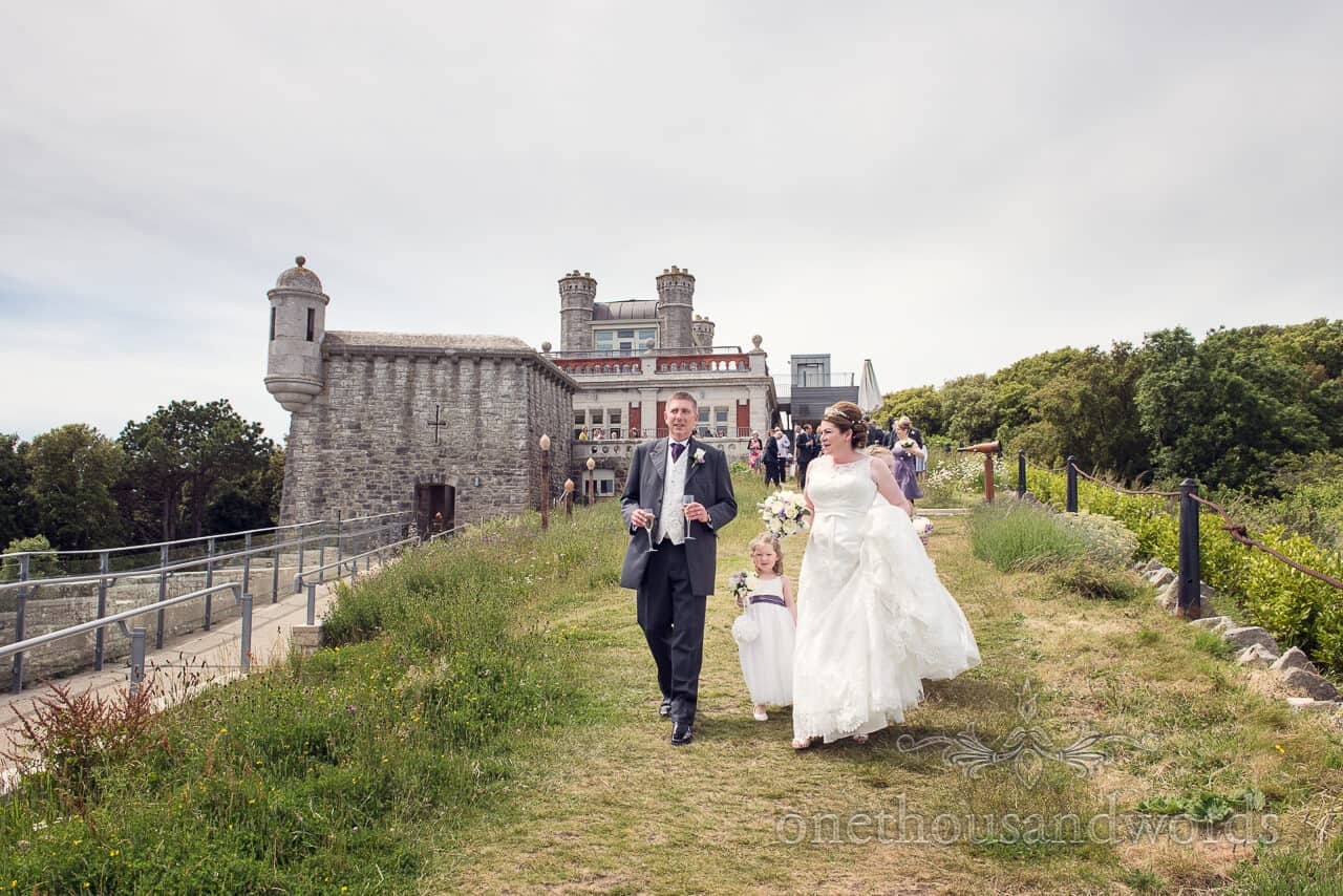 Durlston Castle Bride and groom photograph