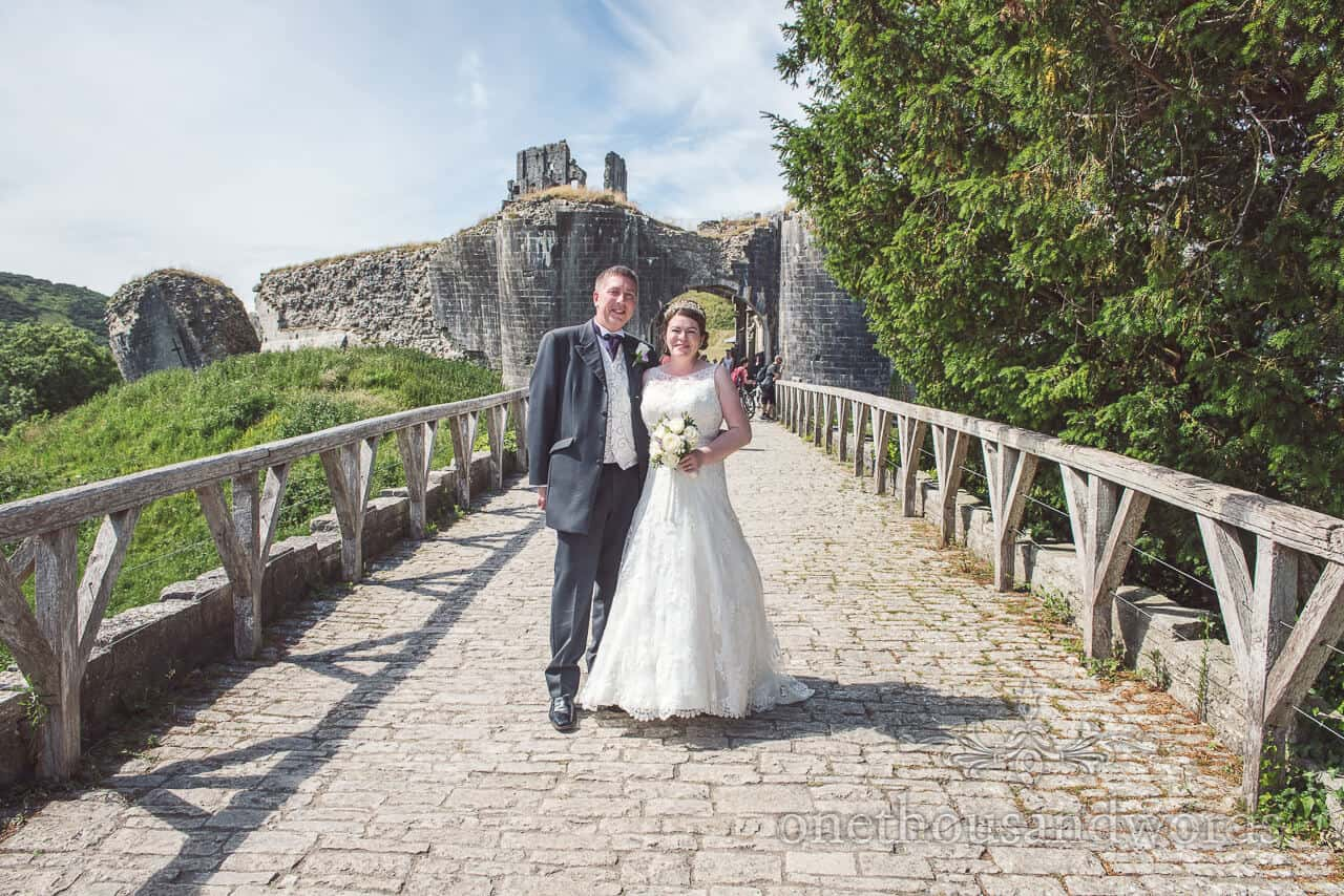 Bride and groom at Corfe Castle, Dorset