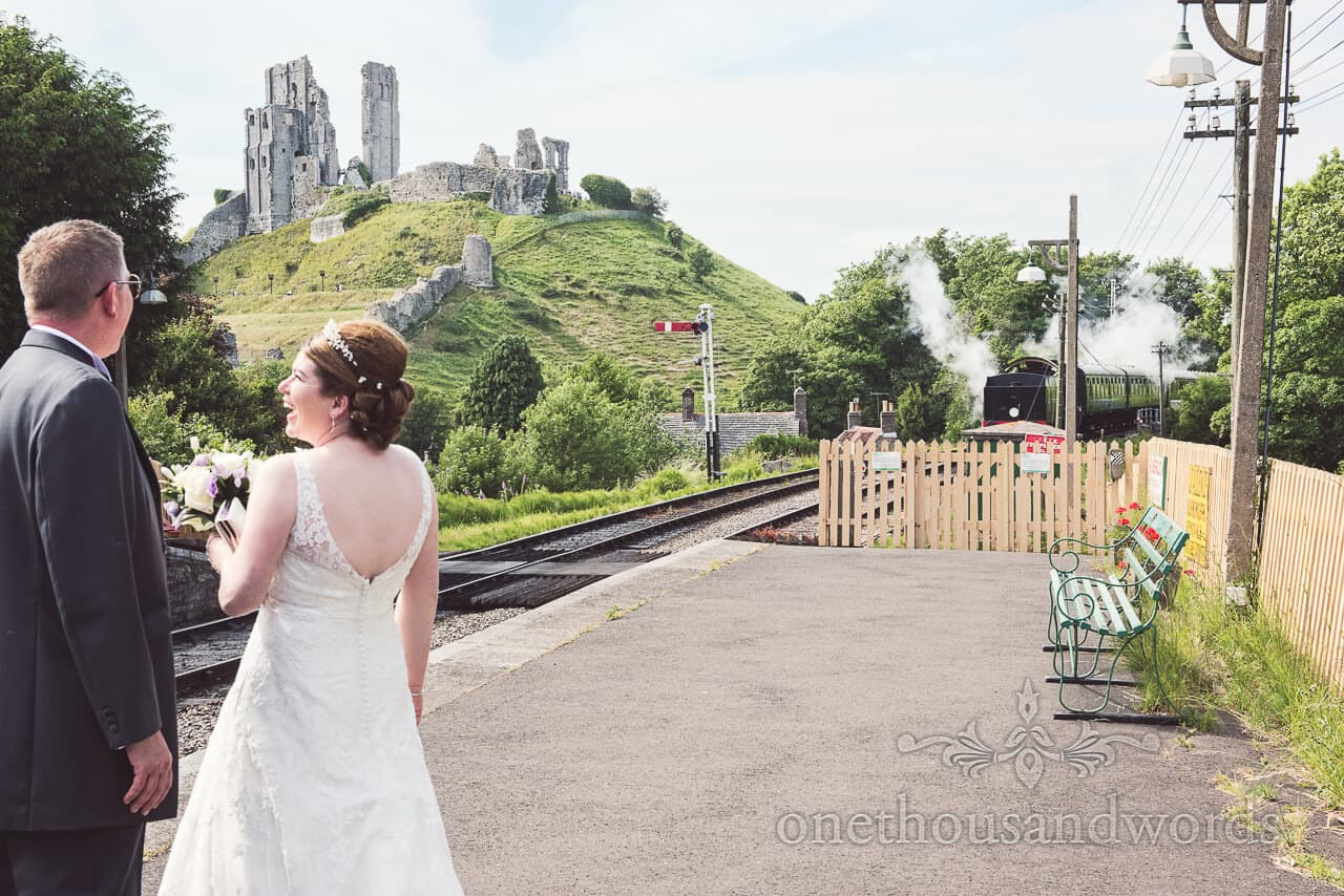 wedding steam train and corfe castle photograph