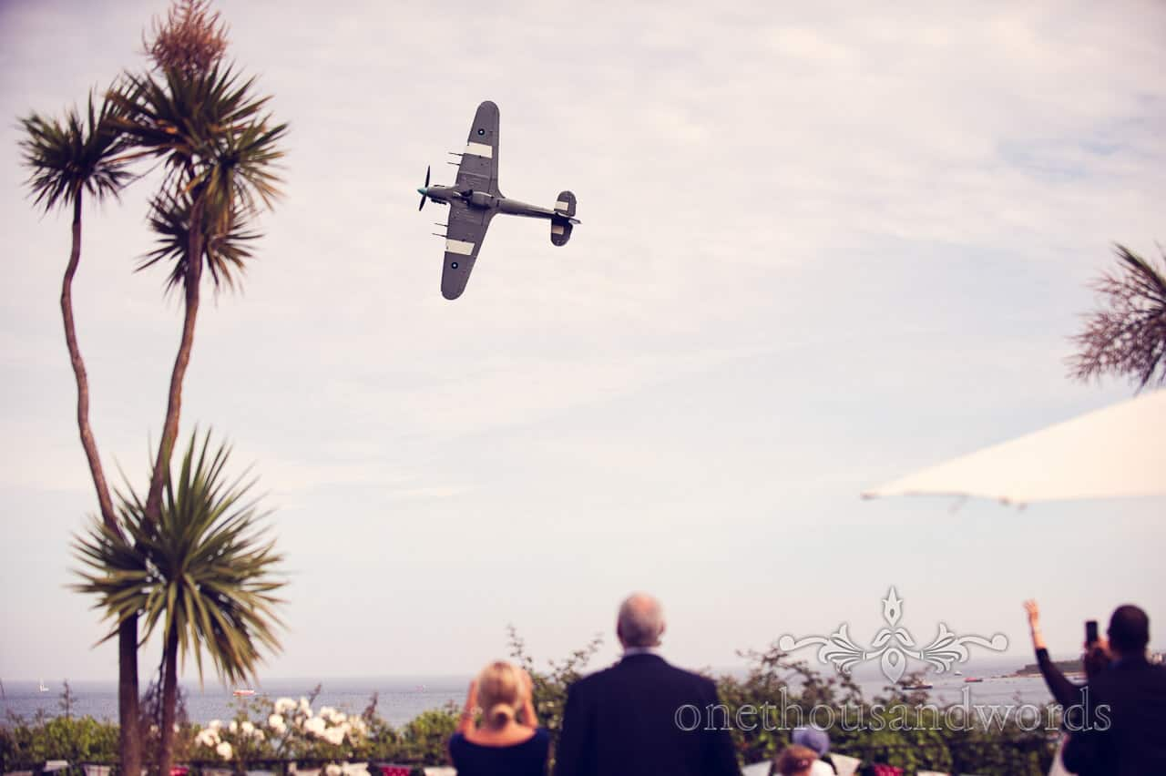 Hawker Hurricane wedding fly by at The Grand Hotel