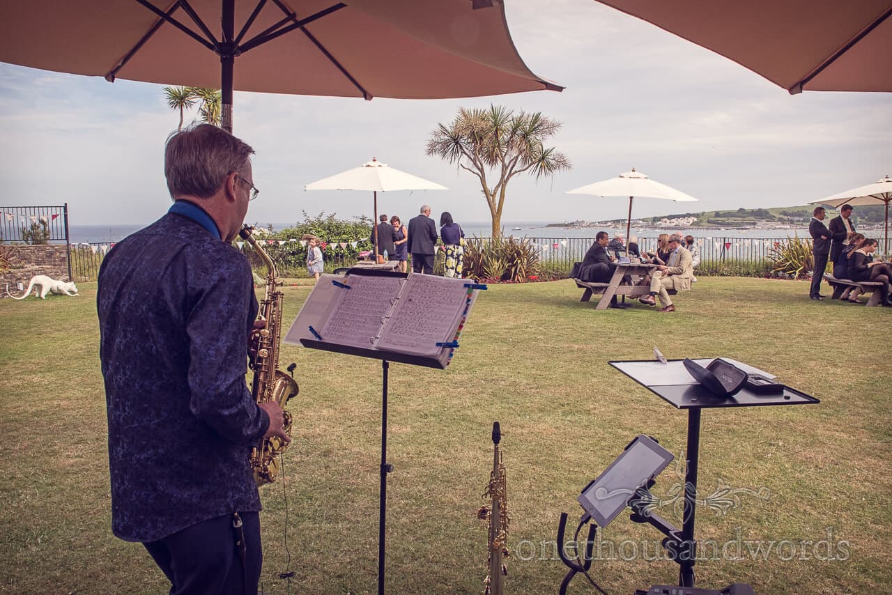 Saxophanist at seaside wedding in Swanage