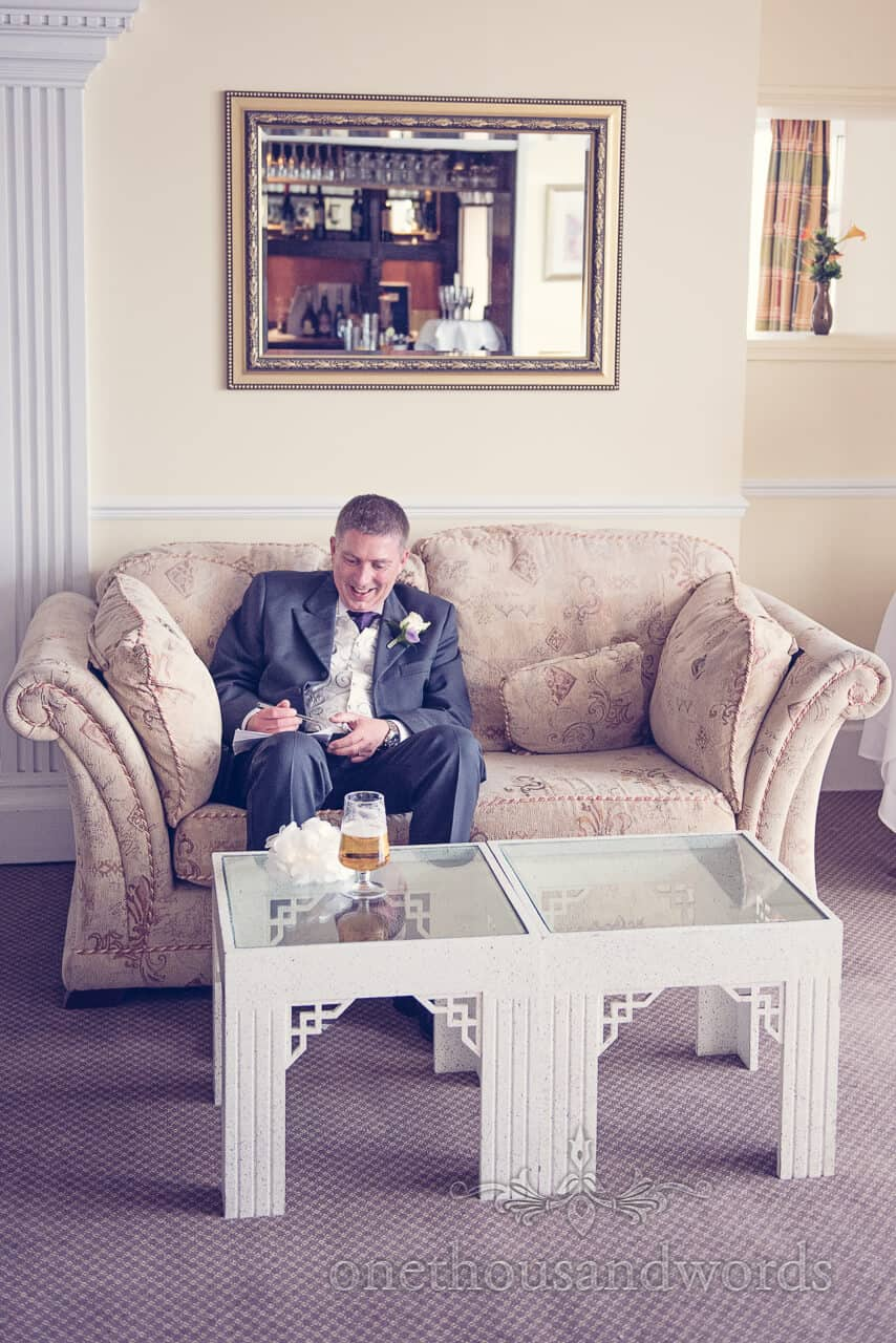 groom reads speech at Grand Hotel Swanage wedding