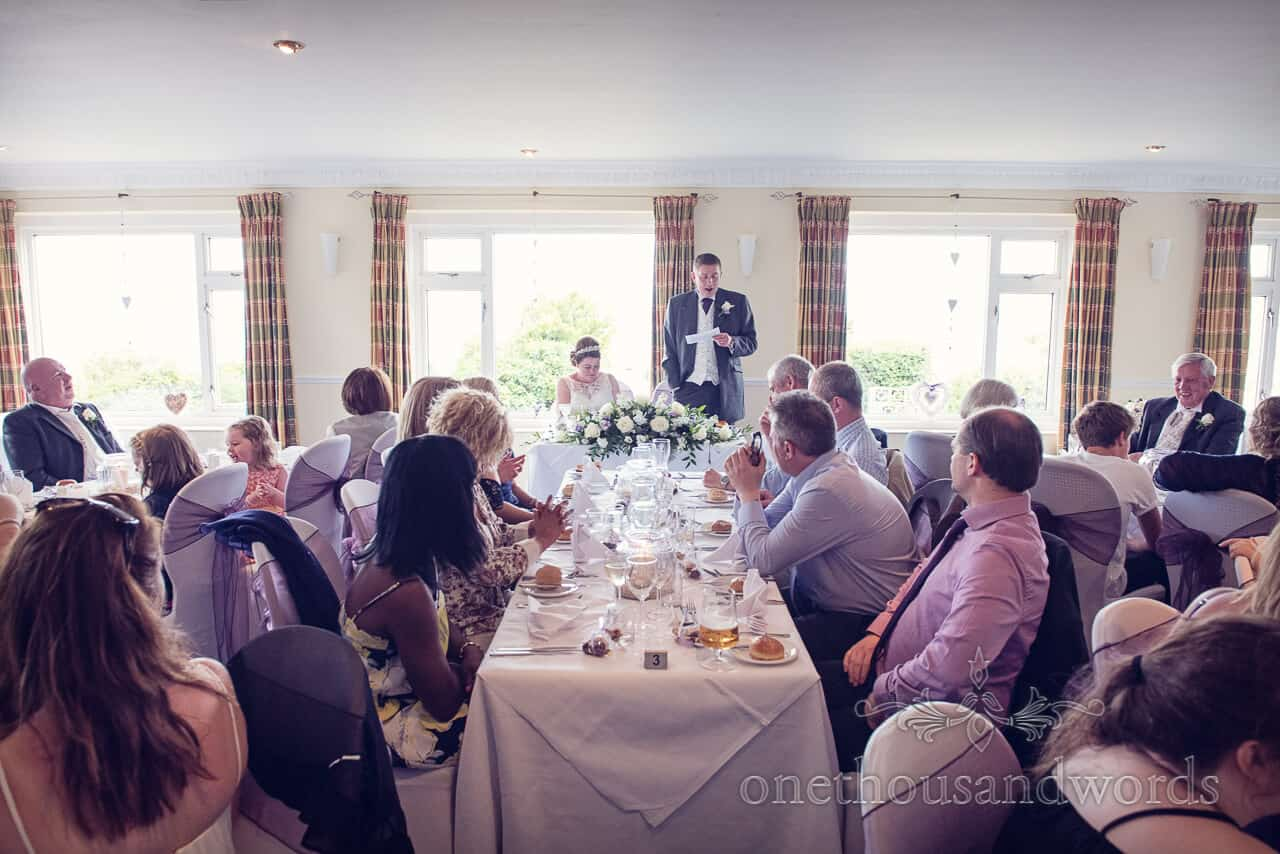 Groom's speech at Grand Hotel Swanage wedding