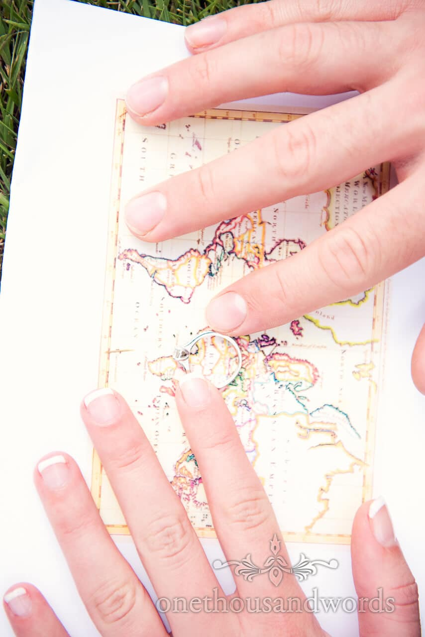 Longleat engagement photographs of engagement ring & map