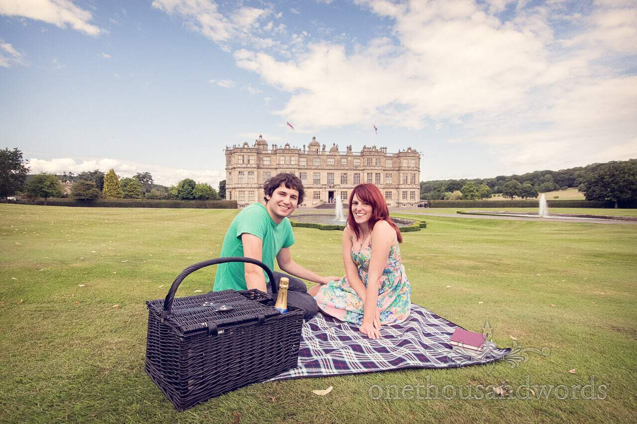 Longleat engagement photographs of picnic