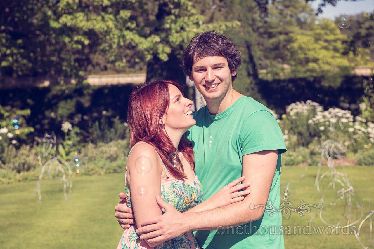Longleat engagement photographs with bubbles