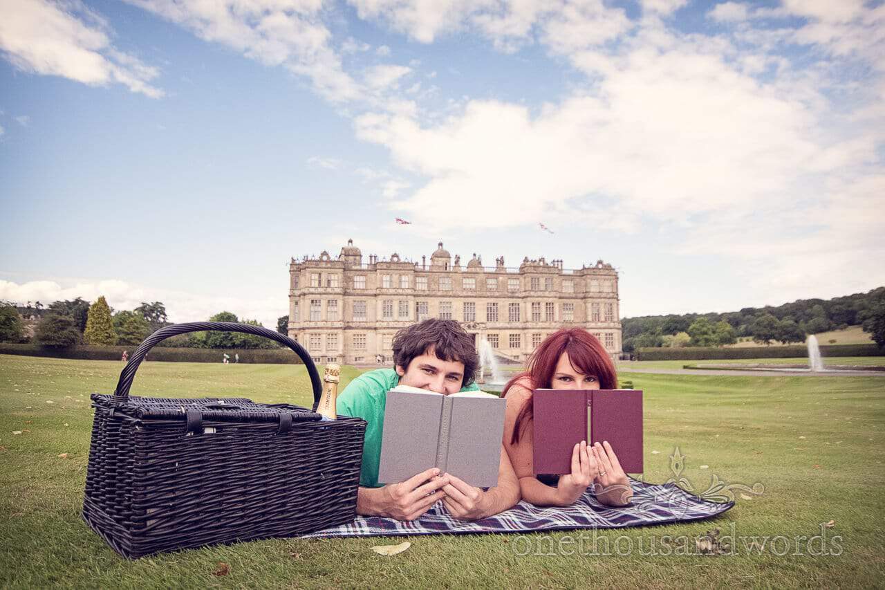 Longleat engagement picnic with books