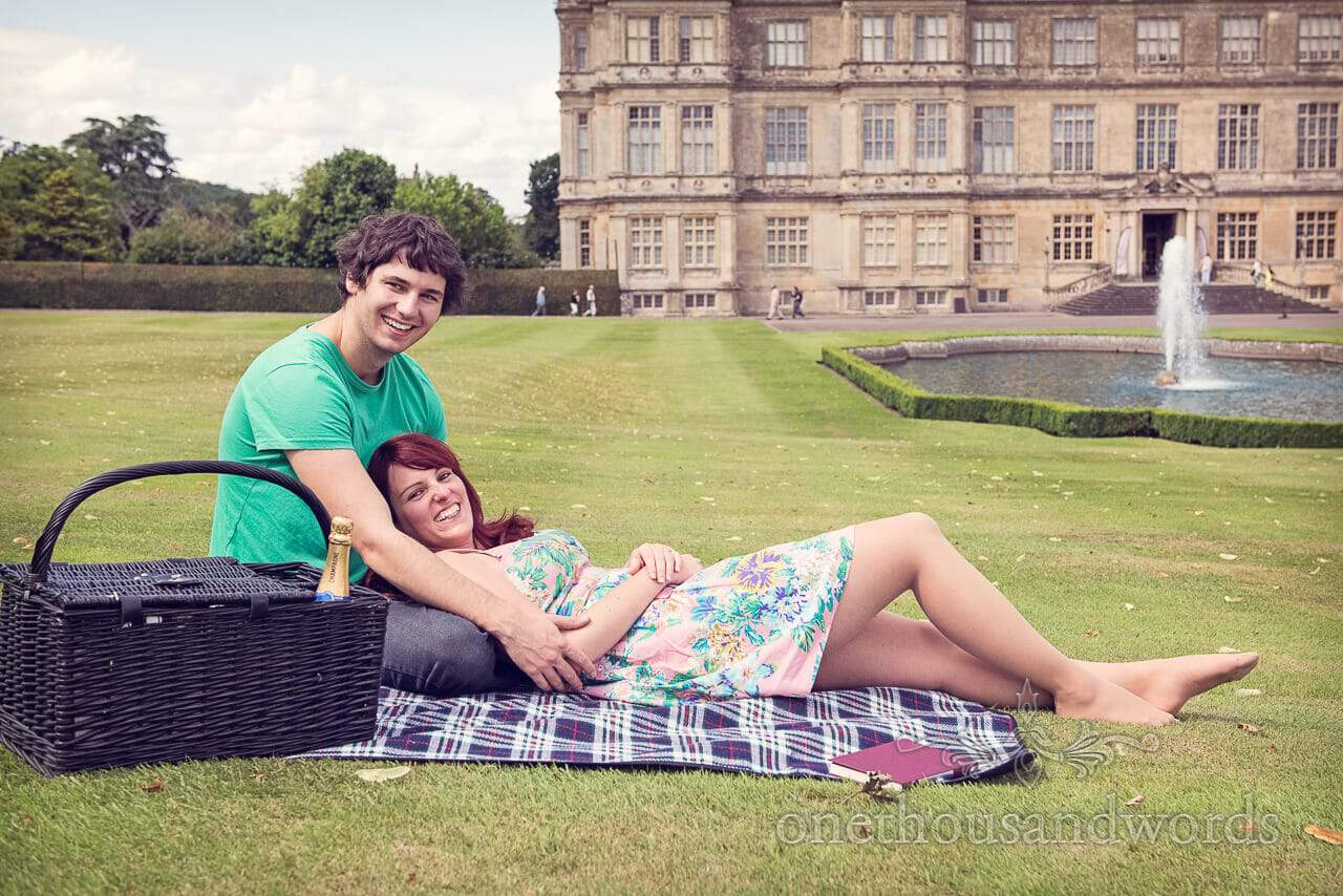 Longleat House picnic engagement photographs on lawns