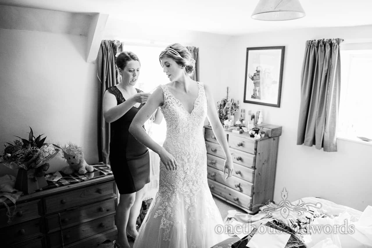 Black & White Wedding Photograph of Bride