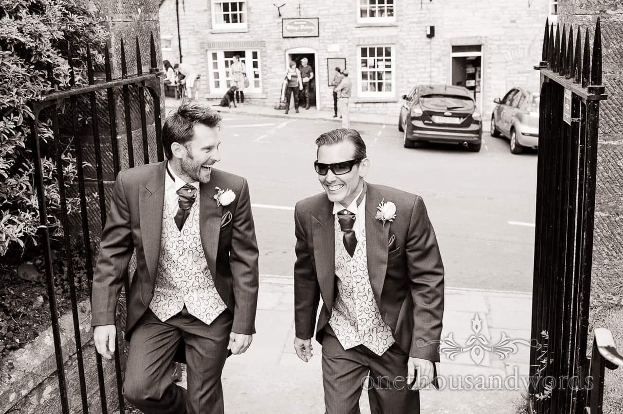Black & White Wedding Photograph of Groom & Best Man