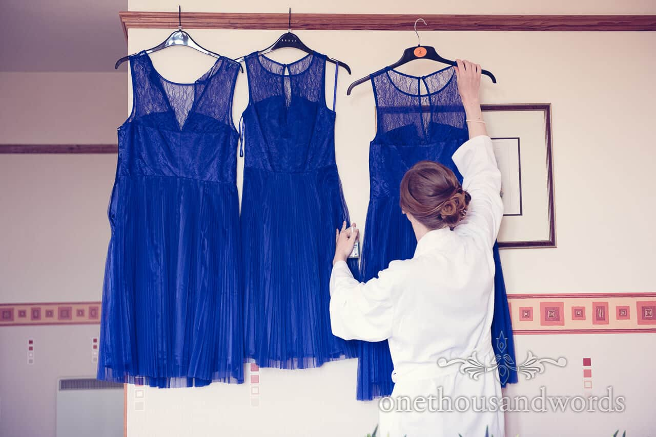 Blue bridesmaid's dresses at Purbeck House Hotel Wedding