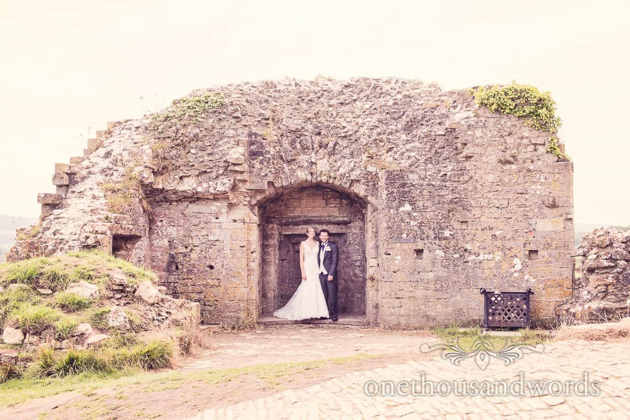 Bride and Groom in Corfe Castle Ruins