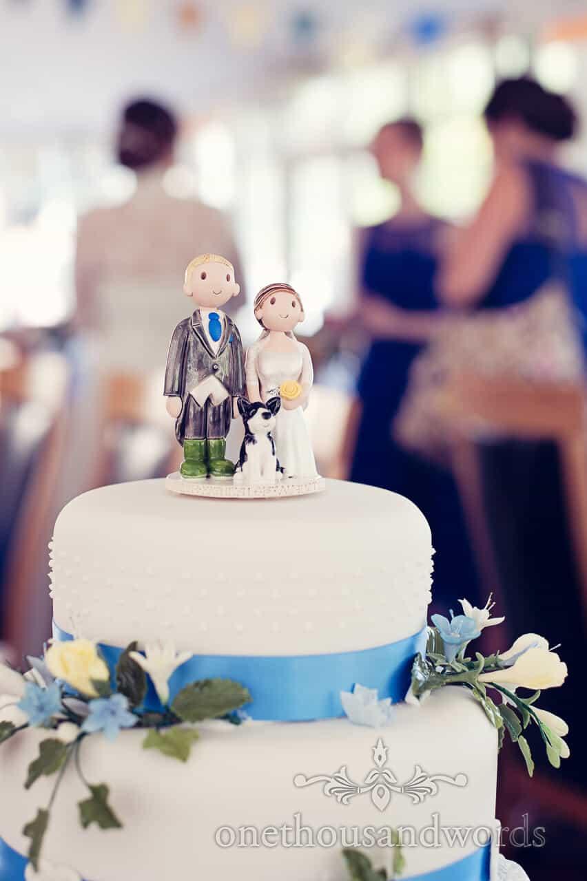 Bride, Groom and Dog wedding cake topper