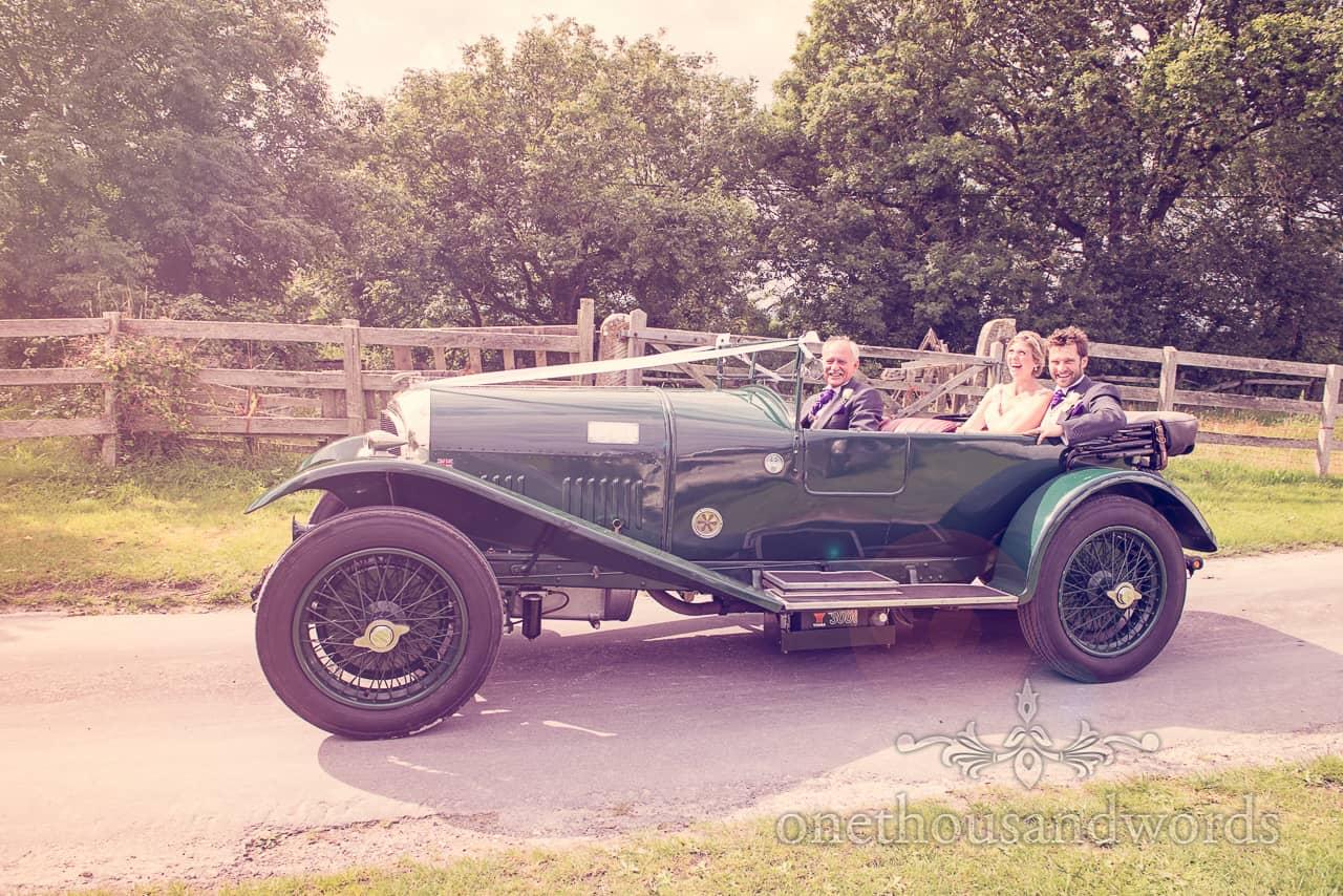 Bride & Groom Arrive in Classic Bentley Wedding Car