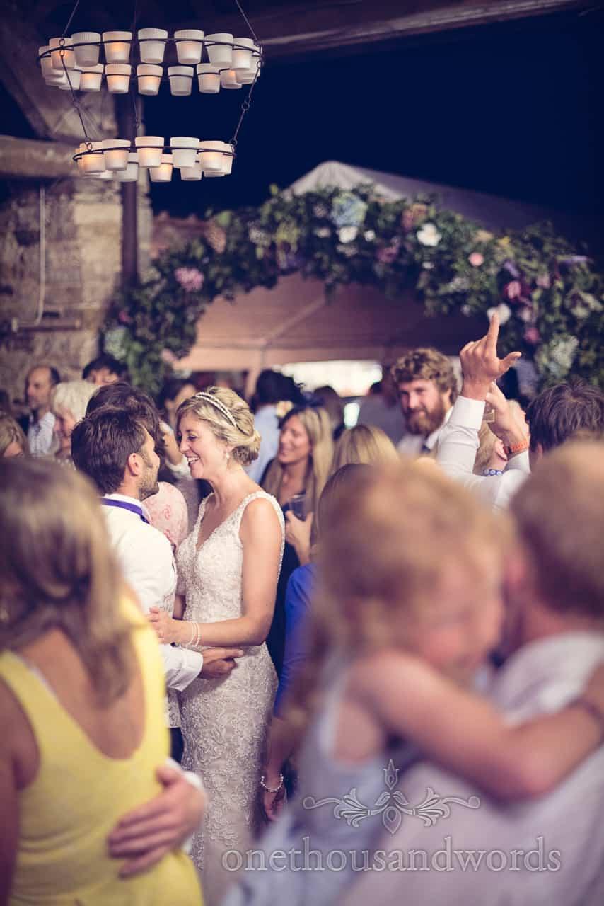 Bride & Groom dancing at Barn wedding in Dorset
