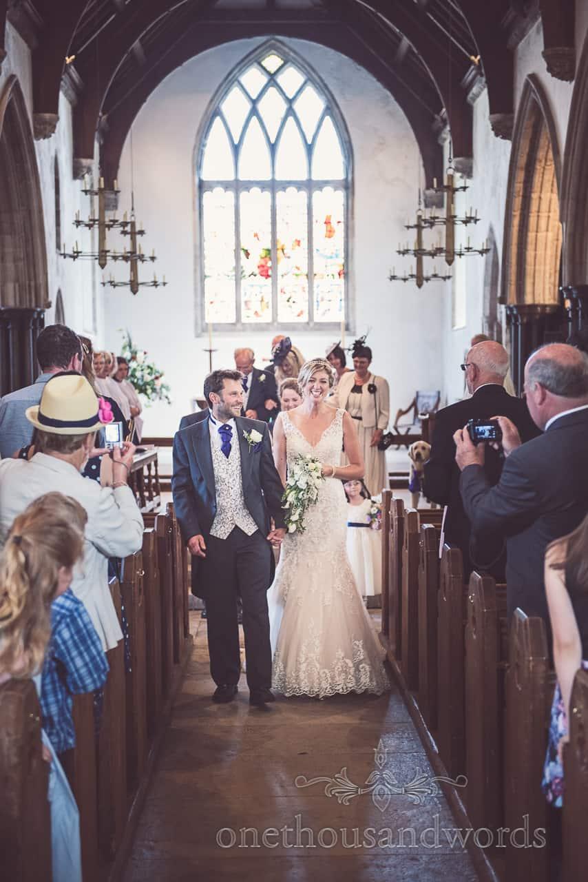 Bride & Groom Leave Corfe Church Wedding Ceremony