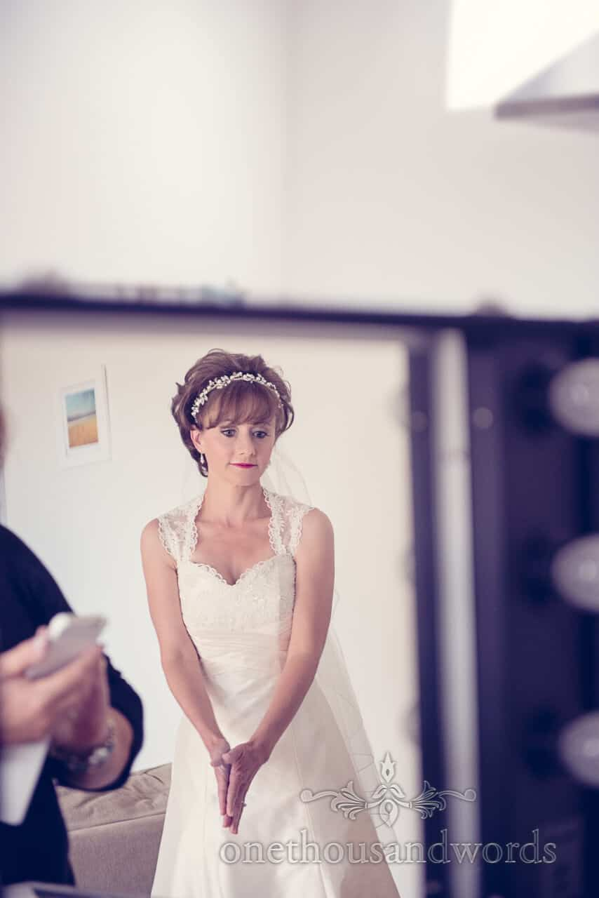 Bride Portrait in Wedding Makeup Mirror