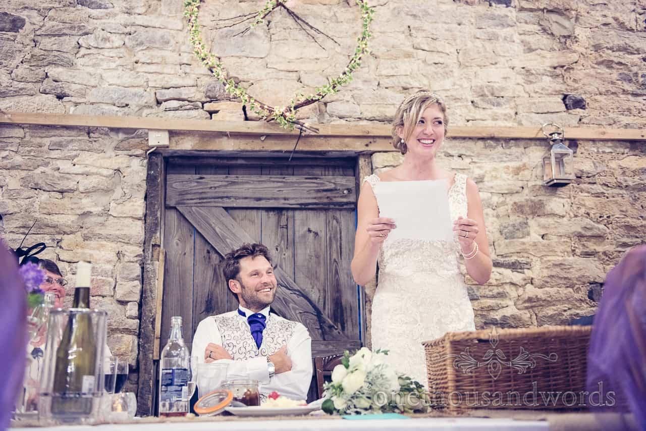 Brides speech at Barn wedding in Dorset