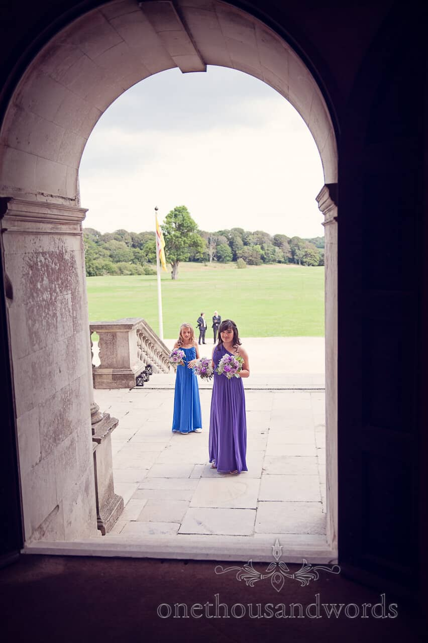 Bridesmaids in Lulworth Castle wedding photograph