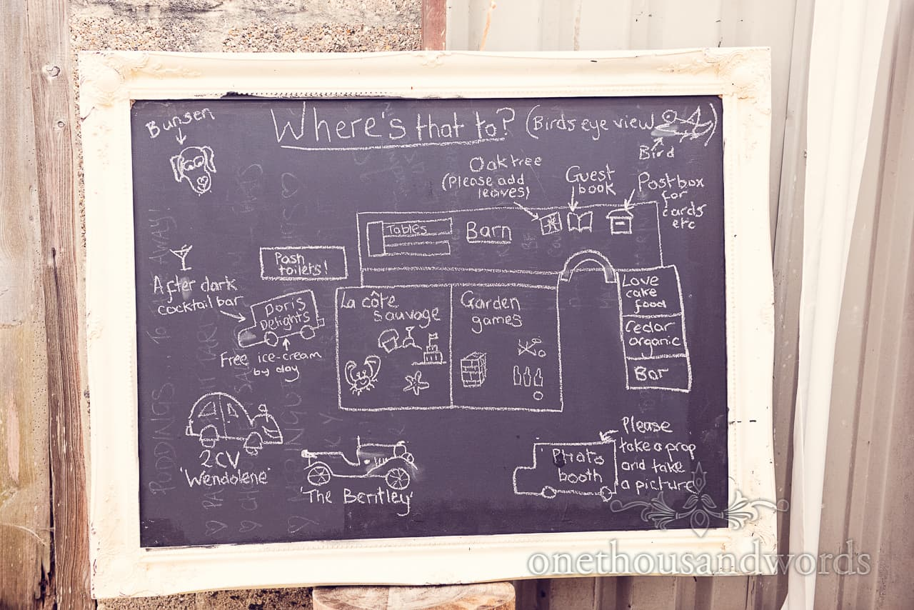 Chalk Board Wedding Map in Picture Frame
