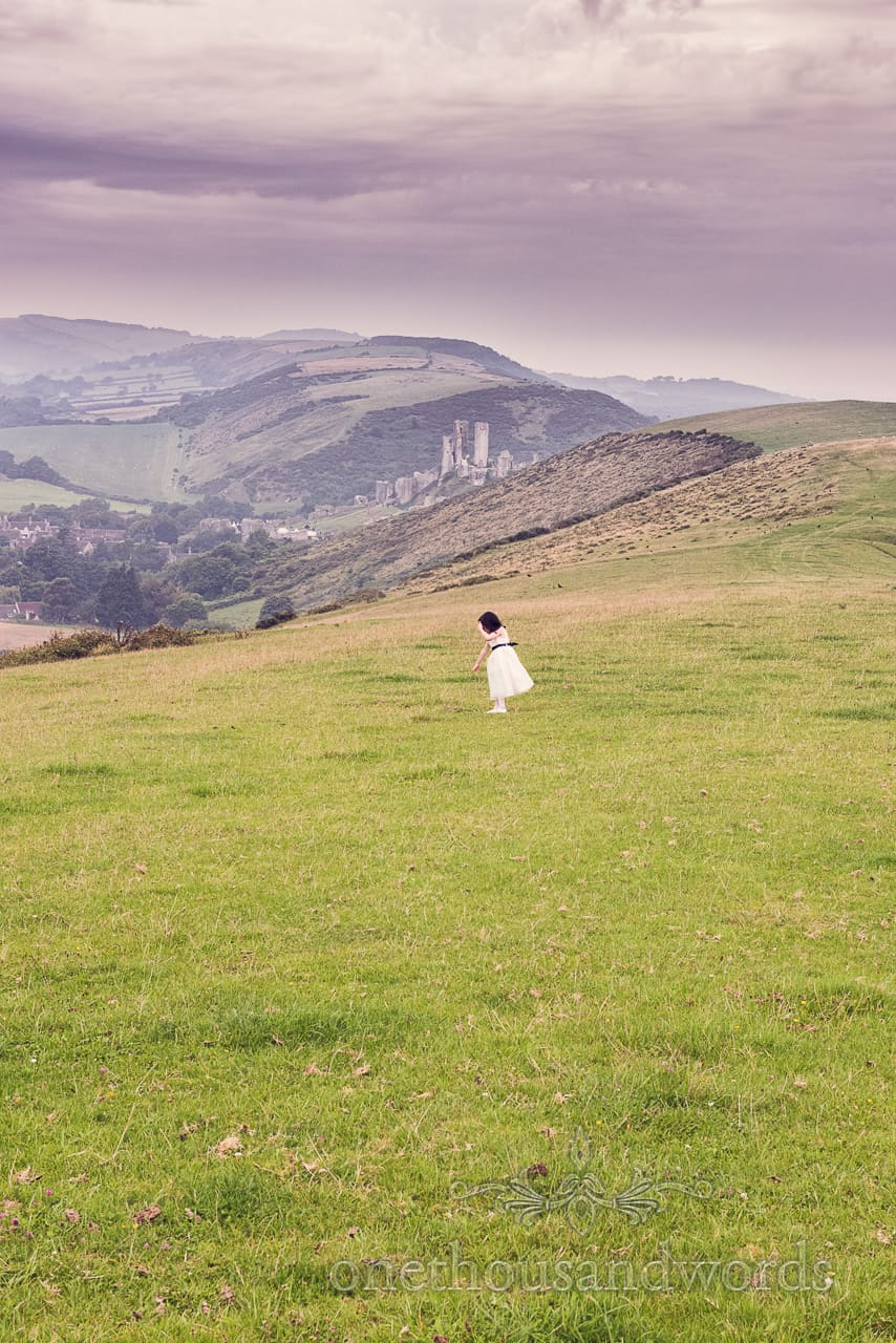 Corfe Castle Countryside & Flowergirl at Wedding