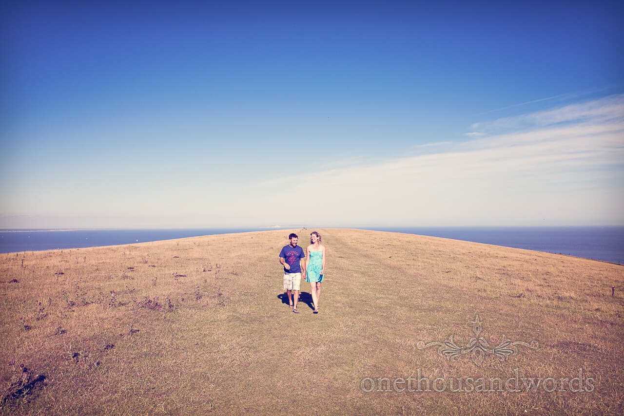 Countryside and sea engagment photograph