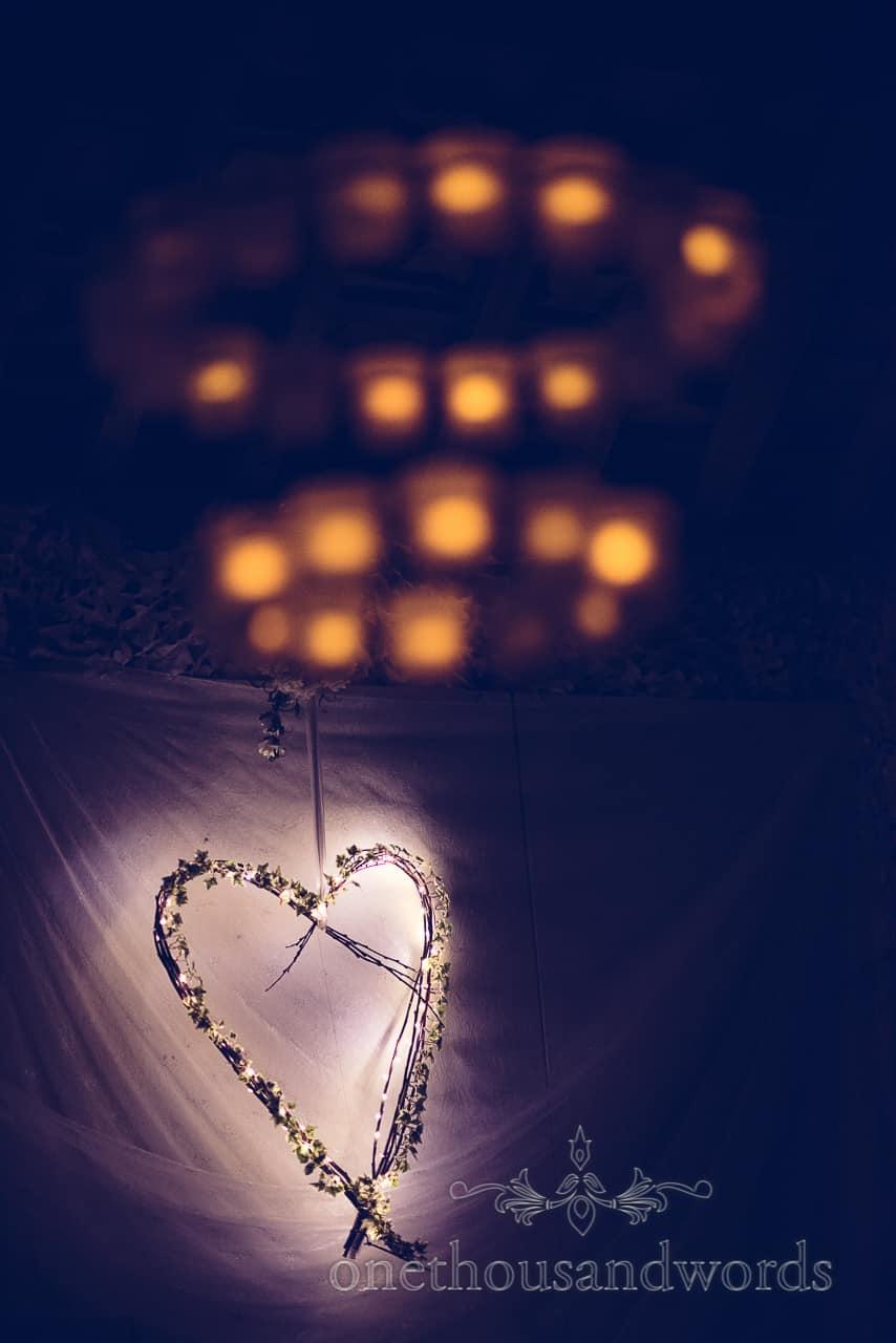 Love heart lights at Rempstone Barn wedding in Dorset