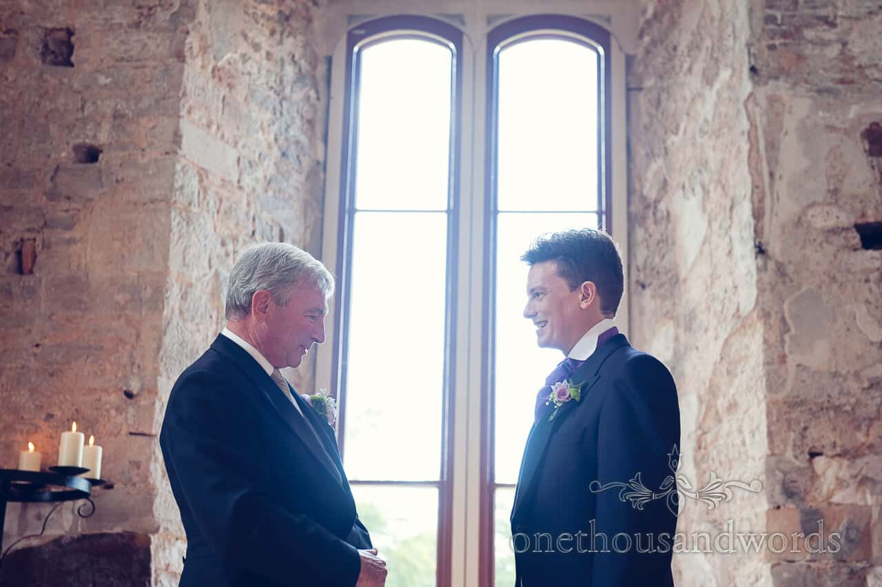 Groom and Father of Bride at Lulworth Castle wedding