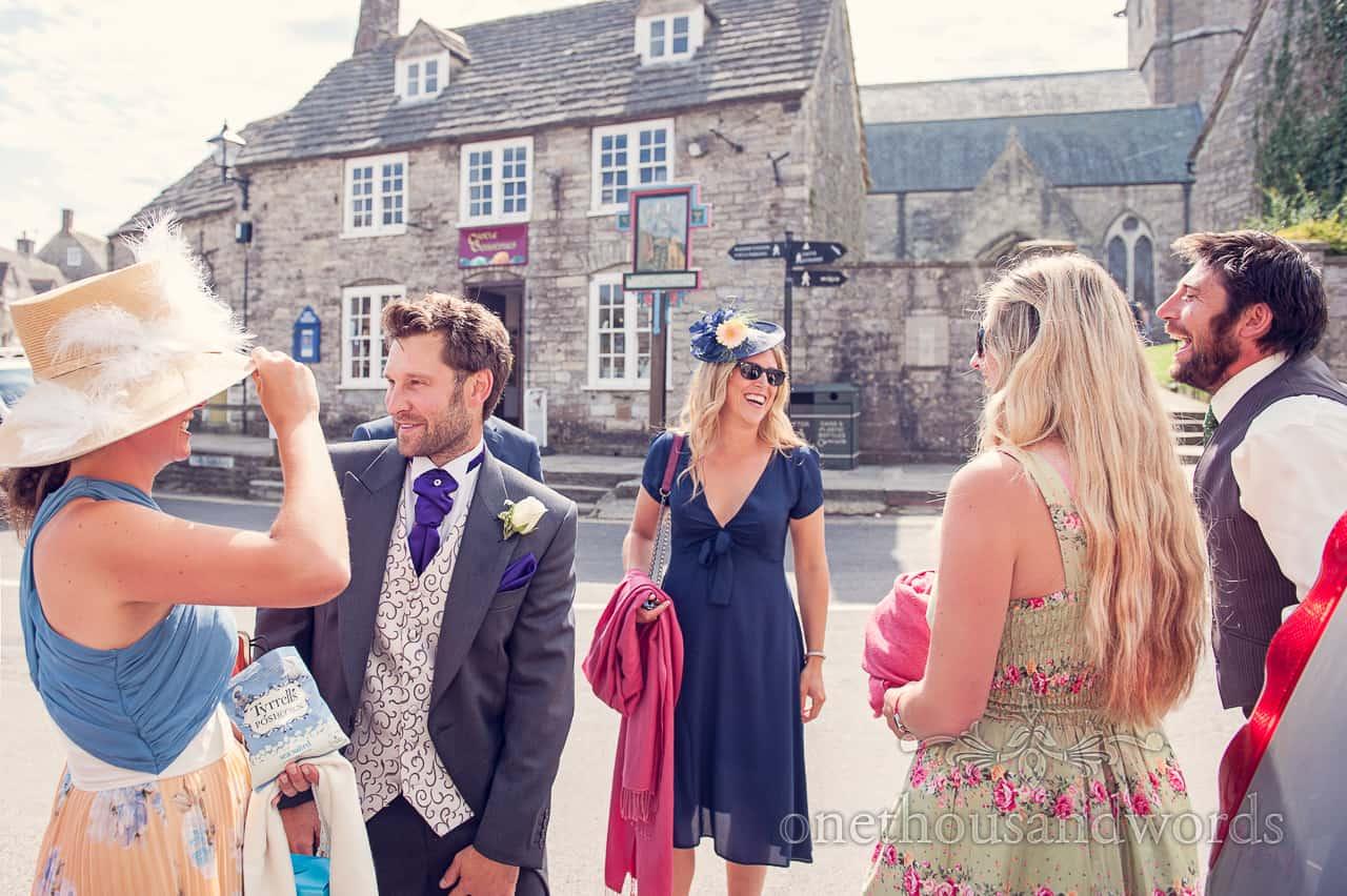 Groom and Wedding Guests in Corfe Castle, Dorset