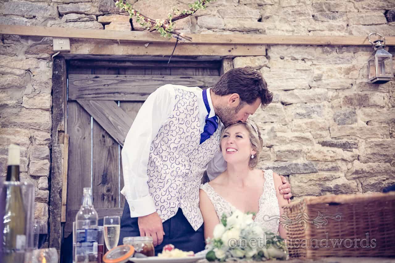 Groom kisses Bride During Wedding Speeches