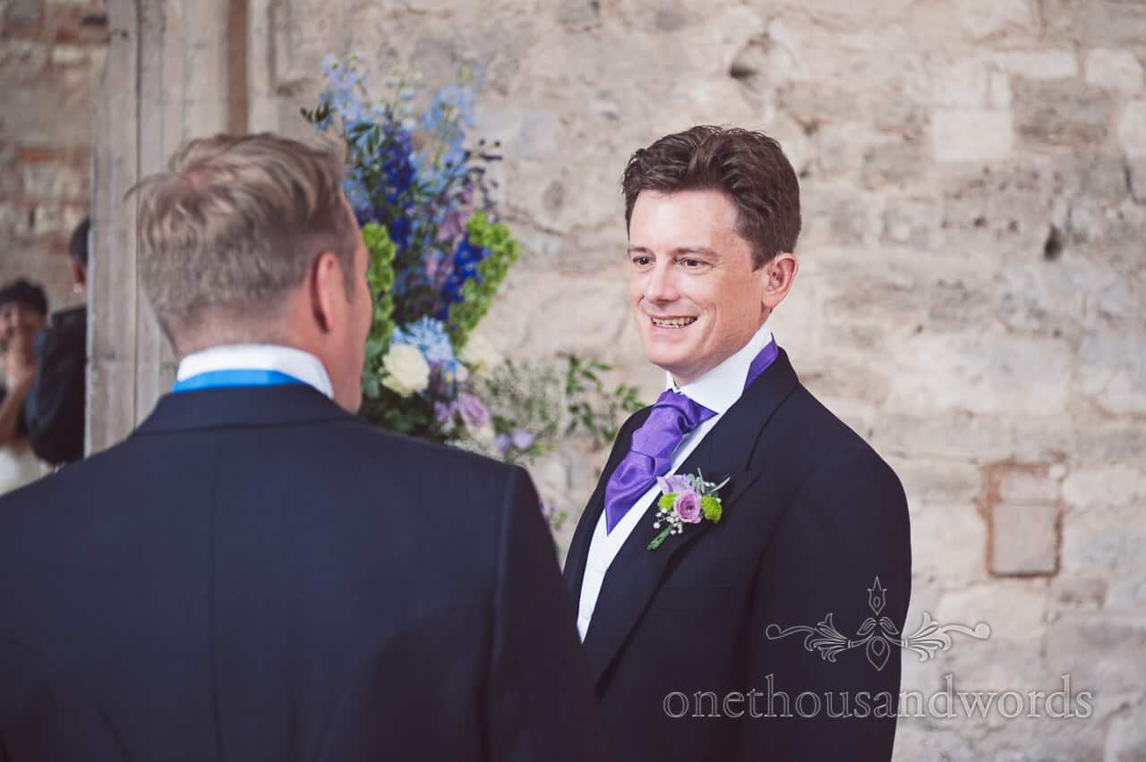 Groom portrait photograph at Lulworth Castle Wedding