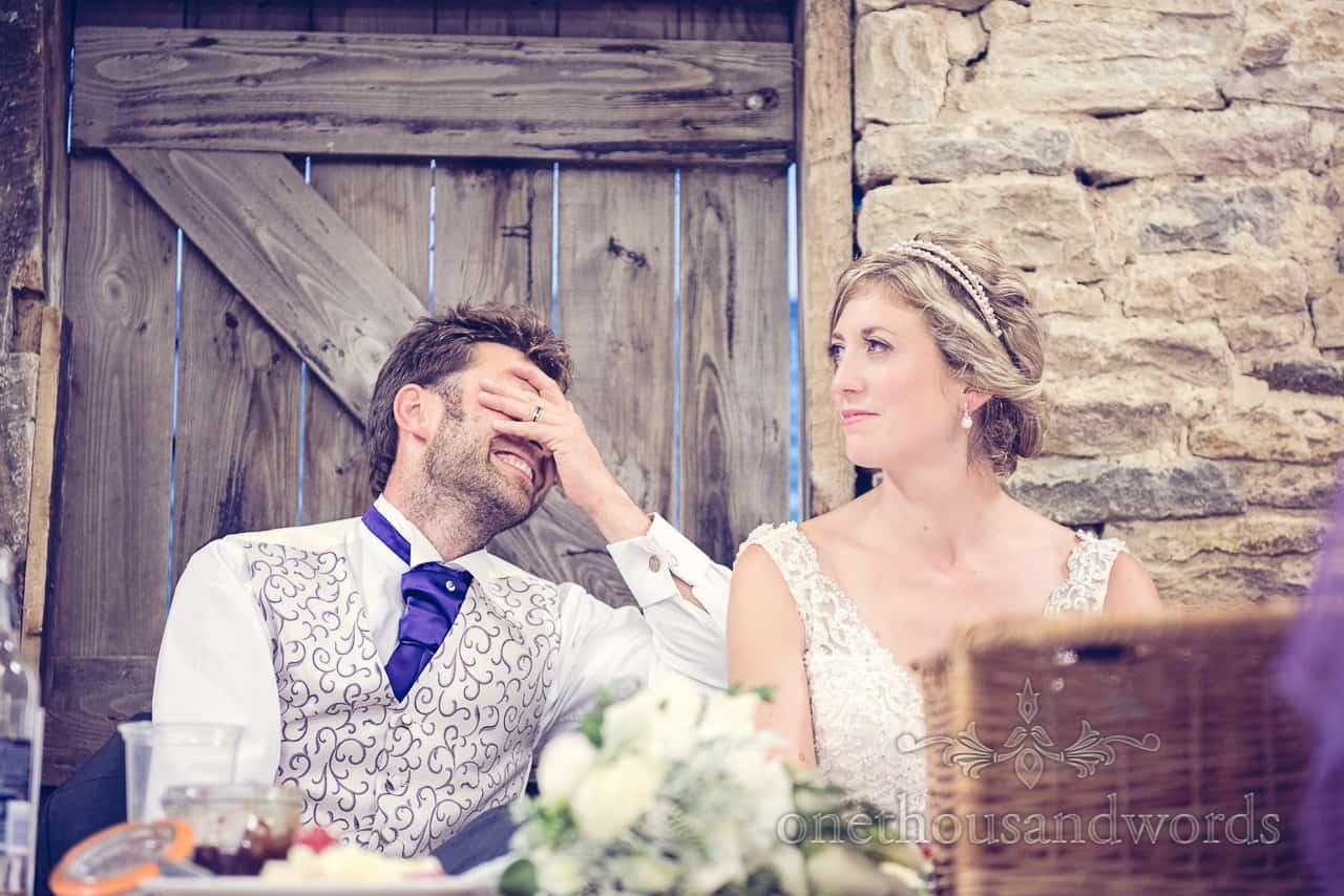 Groom reacts to Best Man's speech at wedding in Dorset