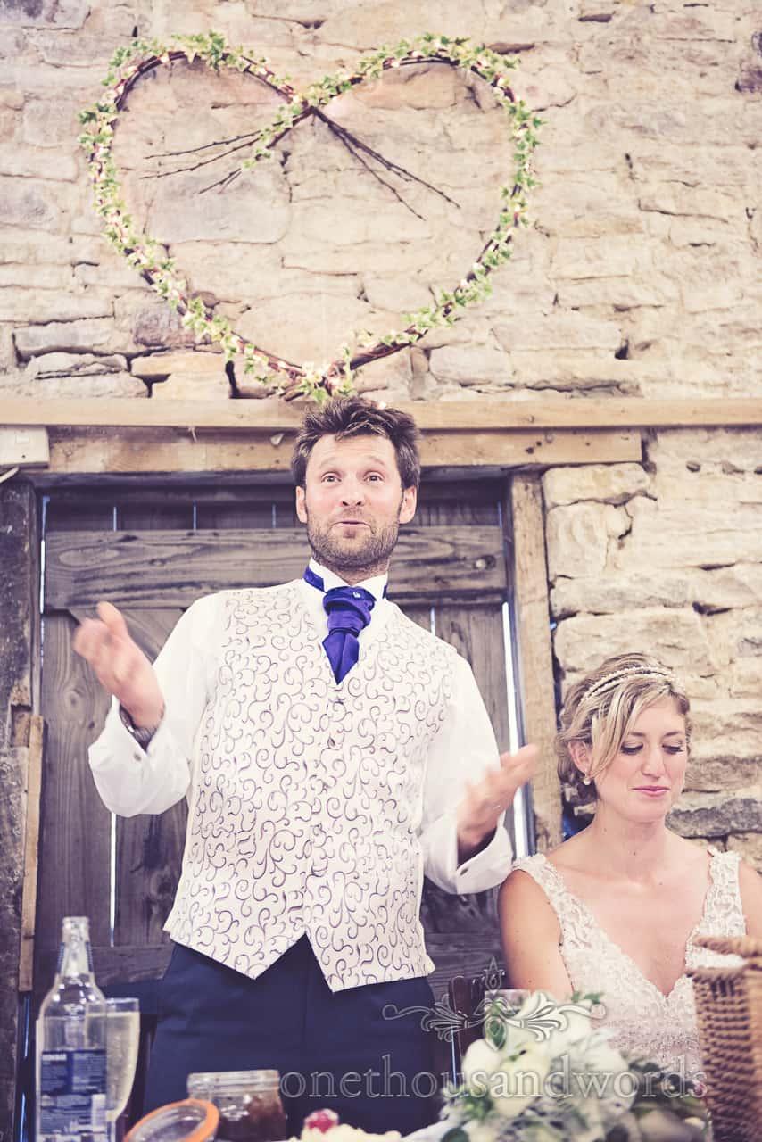 Grooms speech at wedding in Dorset wicker love heart