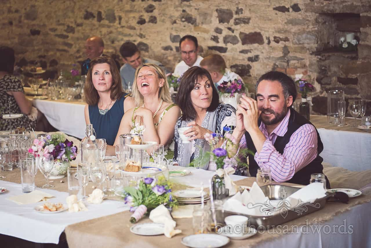 Guests Enjoy High Tea at Barn wedding in Dorset
