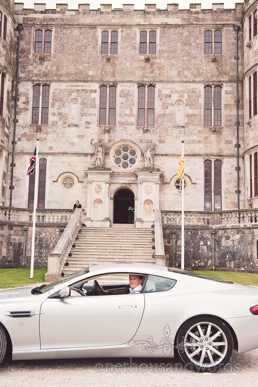 Lulworth Castle groom wedding car photograph