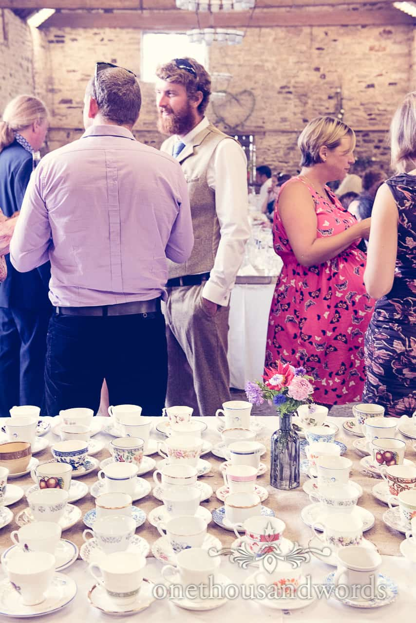 Mismatched Cups and Saucers at Barn Wedding