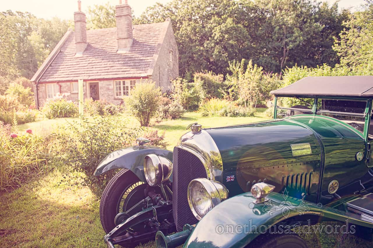Old 3089 Bentley at country cottage wedding in Dorset