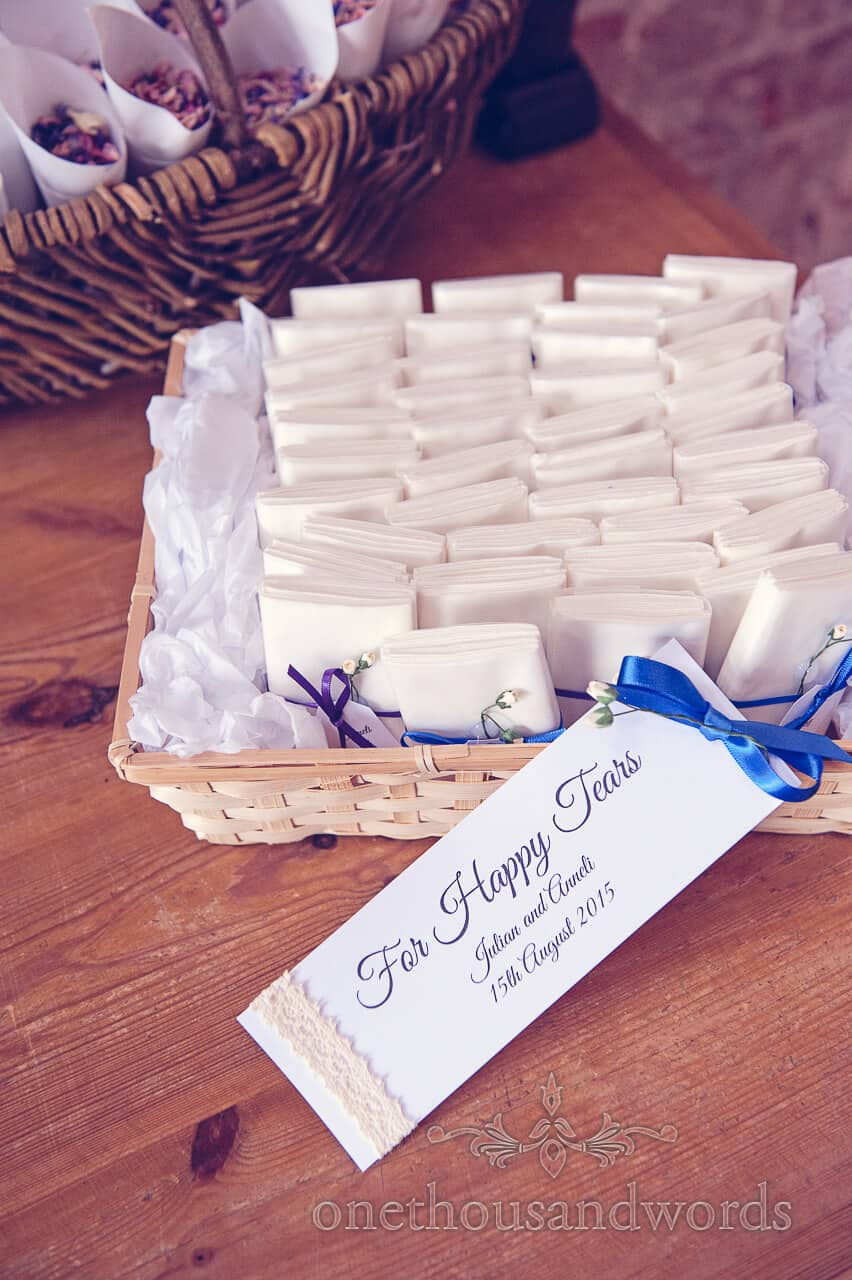 Personalised Wedding Tissues at Lulworth Castle