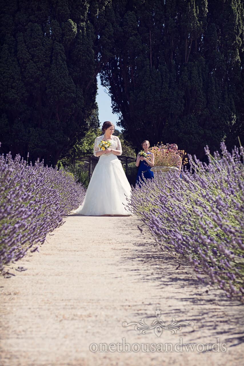 Purbeck House Hotel bride with lavender