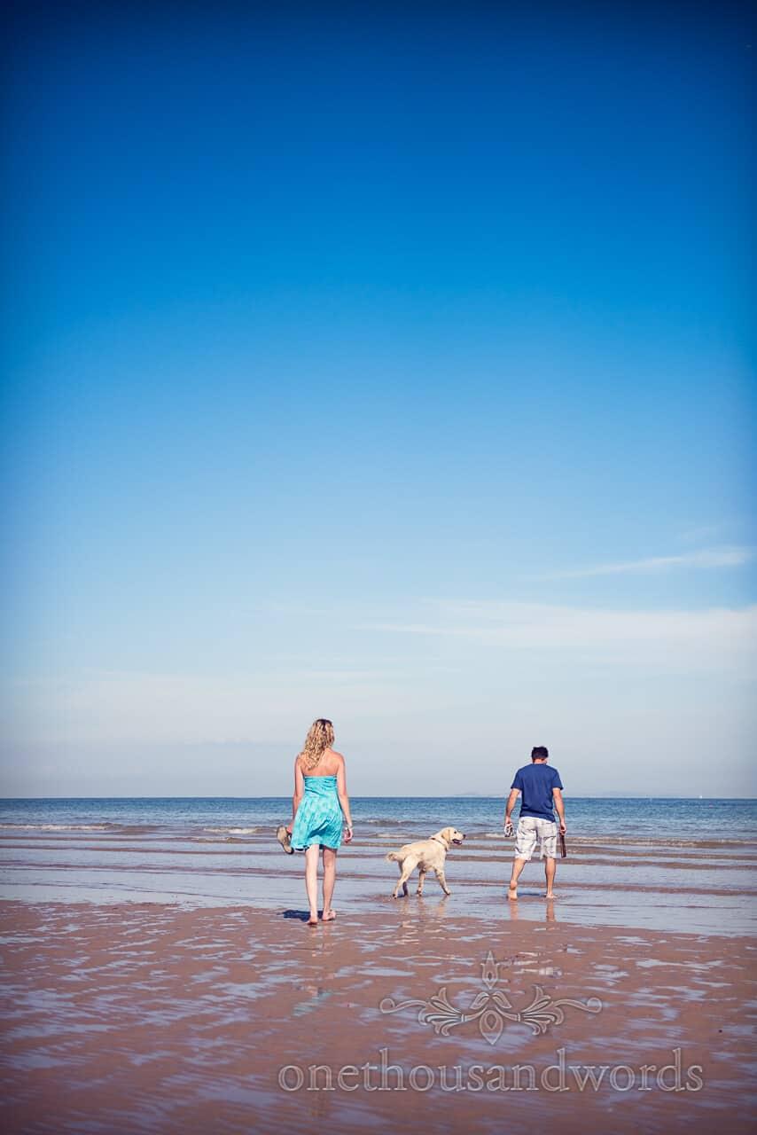 swanage beach engagement photographs with dog
