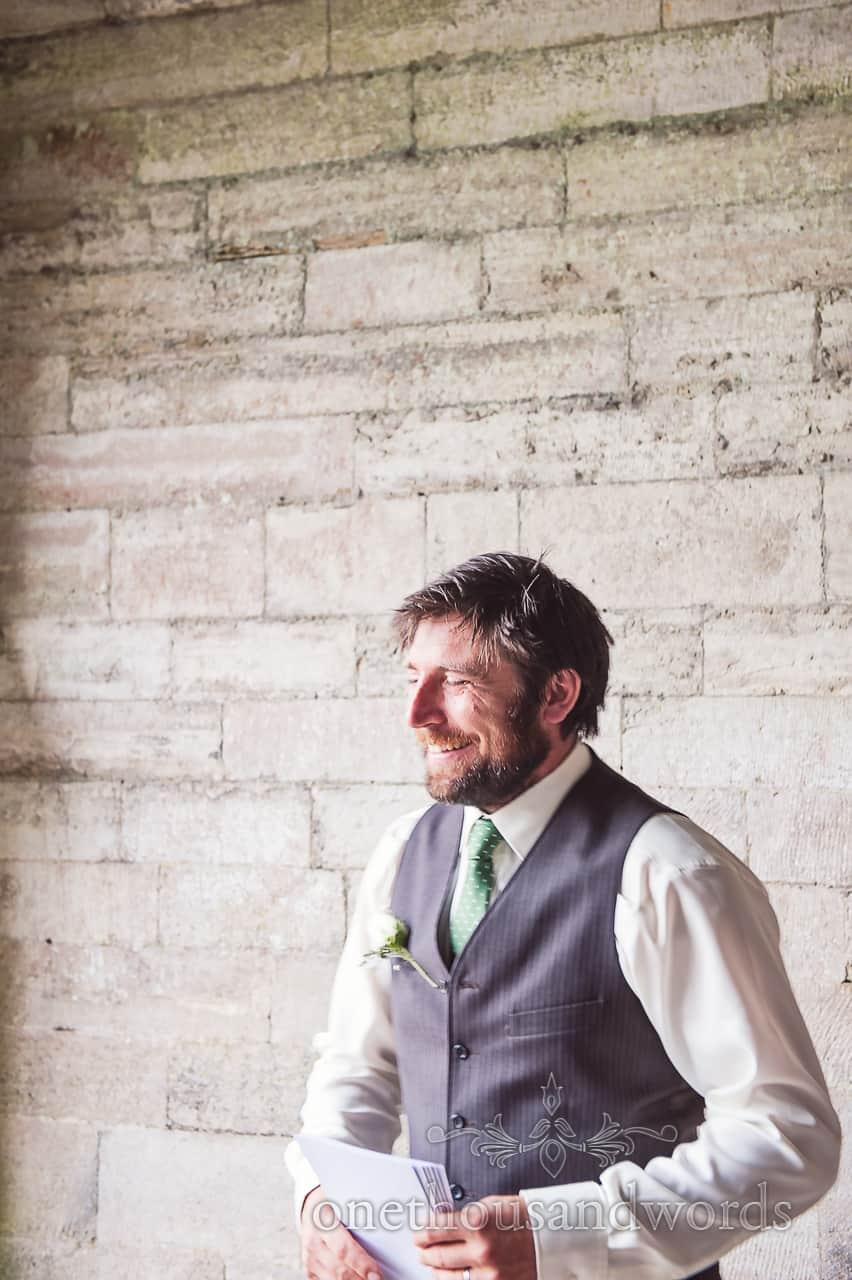 Usher in Waistcoat Greets Guests at Corfe Wedding