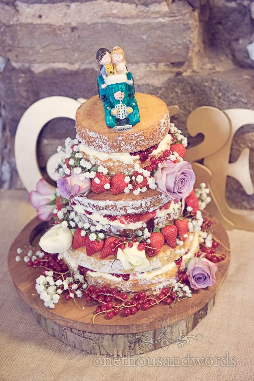 Victoria Sponge Wedding Cake with Fruit & Flowers